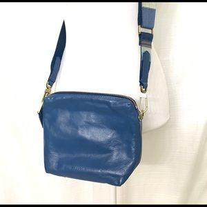 Fossil Leather Crossbody Guitar Strap Blue NWOT